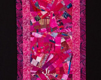 Modern Art Quilt: Magenta, Fuschia and Hot Pink Collage Wall Hanging/FREE SHIPPING