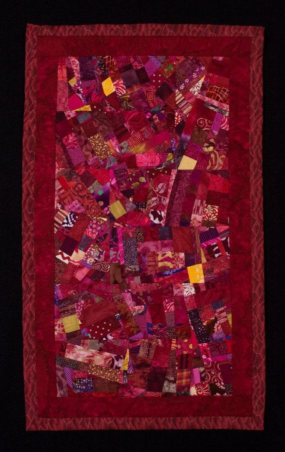 CRANBERRY//Art Quilt: Deep Reds Wallhanging/FREE SHIPPING