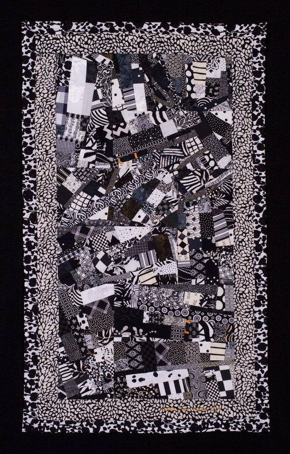 TUXEDO//Art Quilt: Black & Crisp White Wallhanging w/ a Touch of Gold/FREE SHIPPING