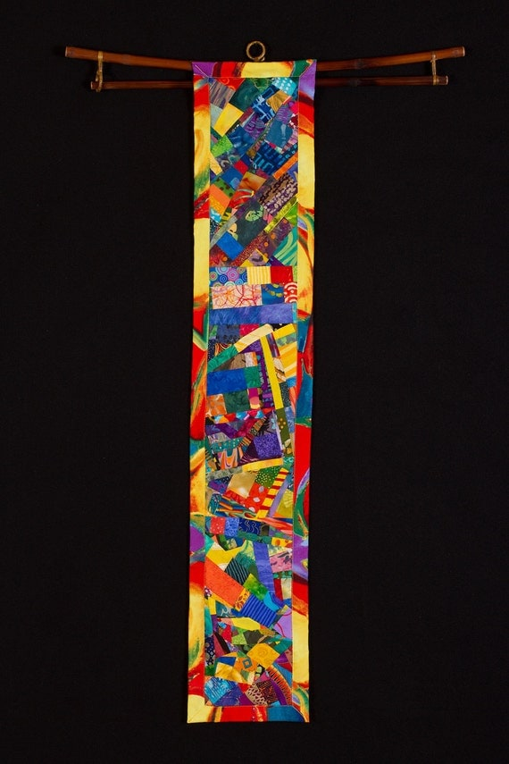 MENDOZA/Art Quilt: Collage Wallhanging in Blue Yellow Orange for Narrow Wall