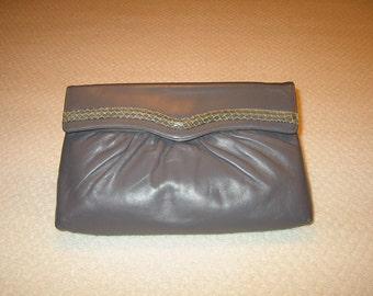 Vintage grey leather clutch