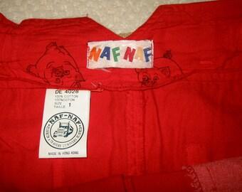 vintage red Naf Naf cotton skirt 1970s