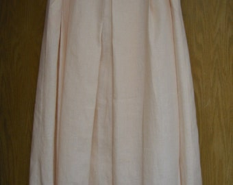 vintage 'Linda Allard for Ellen Tracy' pale peach linen full skirt