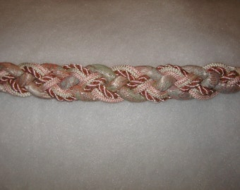 vintage pink Leather Shop braided belt . . . excellent never worn condition . . .gorgeous muted pastels . . .  satin rope belt