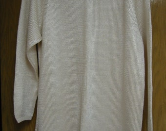 vintage ivory rayon and cotton 'Limited' sweater/tunic -  size medium