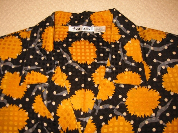 vintage silk print Anne Klein II blouse size 14