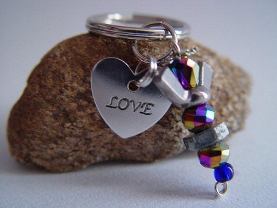 "Iridescent Purple Beaded Silver Wingnut ""Love"" Heart Petite Angel Charm Keychain"