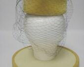 1960's Tan Velvet Pillbox Hat with Velvet Buttons and Black Netting