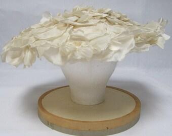 1950's Ivory Silk Petal Hat