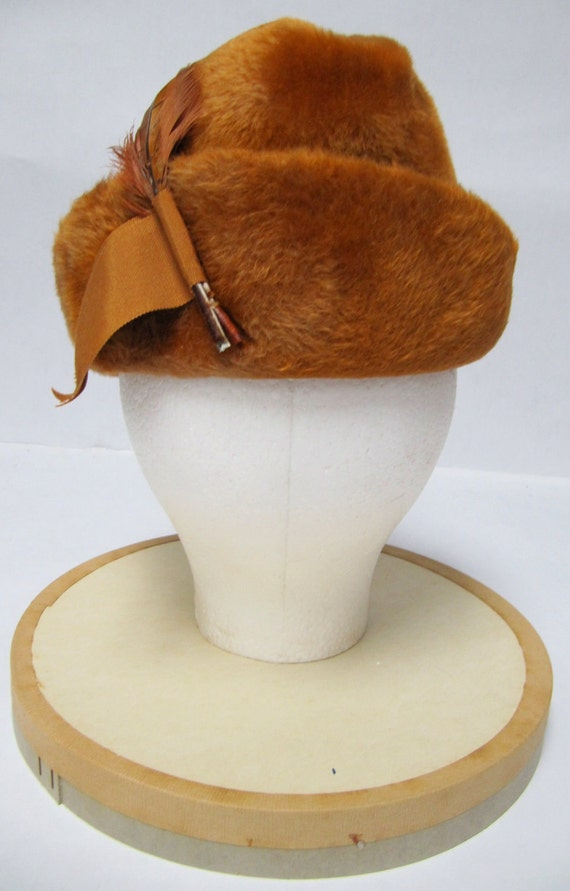 1950's Orange Felt Fur with Ribbon and Feathers Hunting Cap