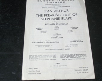 "Pre-opening Playbill for Jean Arthur play ""The Freaking Out Of Stephanie Blake"""