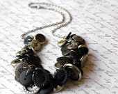 Vintage Button Necklace - Black and Silver
