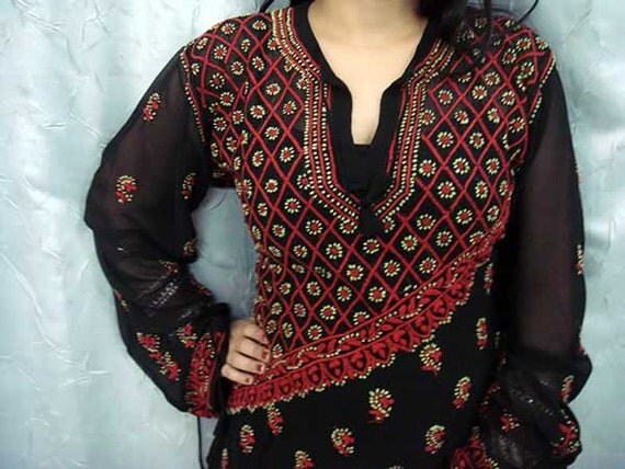 Memorial day Black dress Tunic Sari womens fashion Kameez Shalwar Top beach wear Blouse Indian Hand Embroidered plus size Kurti Cotton