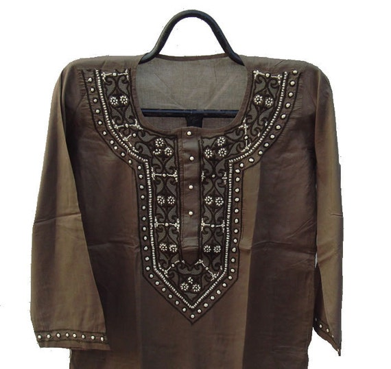 "Brown Mens Kurta Free Gift with purchase Pure Cotton Long Kurta Shirt Chikan Hand Embroidered Chest 44"" US 12 Christmas"