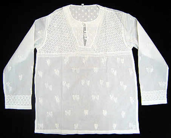 White dress Mens Kurta Cotton Short Shirt Hand Embroidered bollywood designer tunic salwar kameez
