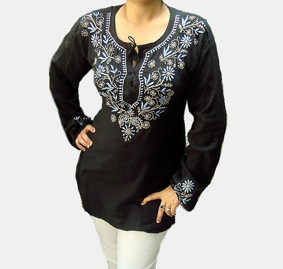 Spring outfit Black dress women Tunic tops cotton Kaftan Indian Blouse Shirt Sari Hand Embroidered Kameez Free Gift