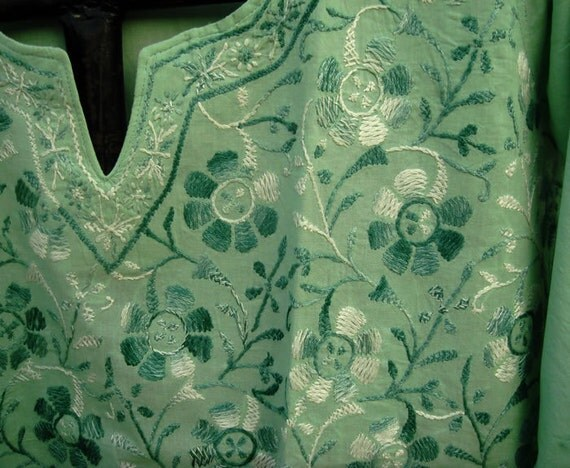 Green Gauze Summer Cotton Tunic Kurta Blouse Shirt Sari Salwar Kameez US 14 Hand Embroidered Cute Dress
