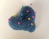 Denim Blue Felted Wool Heart Pincushion