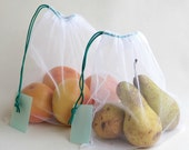 MARKET / PRODUCE BAG in white tulle, with acqua label - set of two