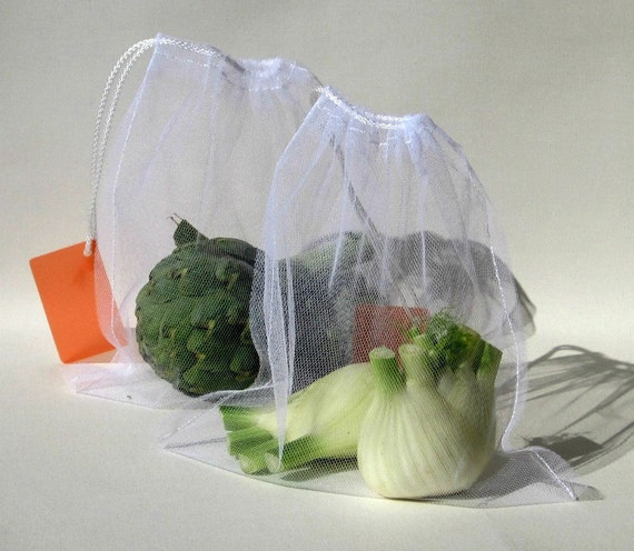 MARKET / PRODUCE BAG in white tulle, with orange label - set of 2