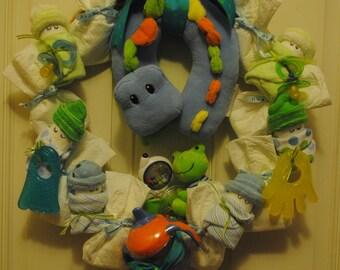 CUSTOM ORDER - Large Baby Shower Wreath - Diaper Baby Wreath- It's a Boy