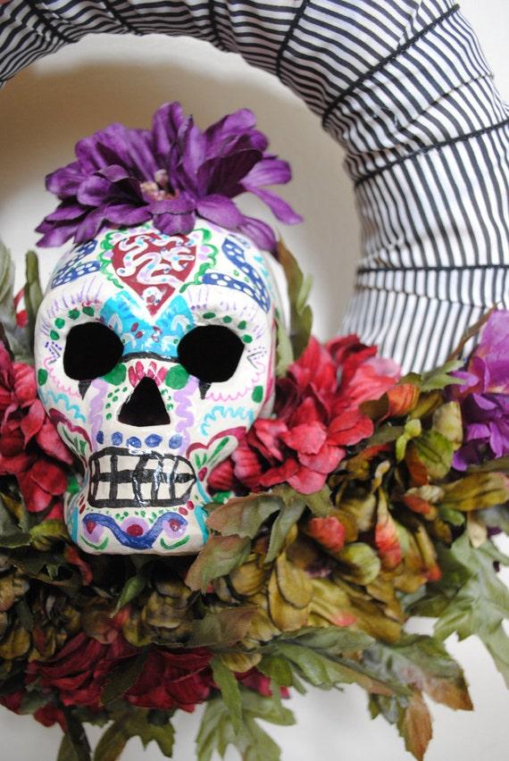 Items similar to Dia De Los Muertos Sugar Skull Wreath ...