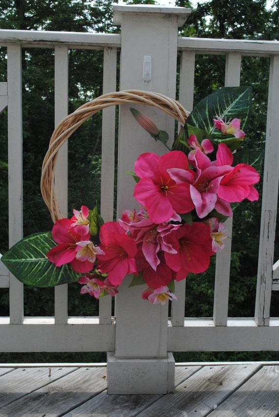 Hawaiian Dreams Wreath- luau decor - summer wreath - hibiscus - Ready to Ship - OOAK