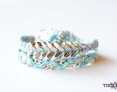 TINNLILY Blue Crush Silk Chain and Hex Nut Double Wrap Bracelet