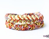 TINNLILY Tangerine Chain and Hex Nut Double Wrap Bracelet