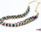 TINNLILY Peacock Silk Hex Nut and Chain Woven Necklace with Swarovski Crystals - Made to Order