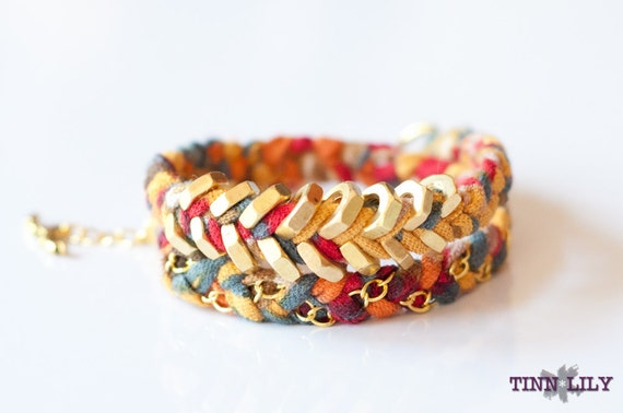 LAST ONE: TINNLILY Mustard Chain and Hex Nut Double Wrap Bracelet