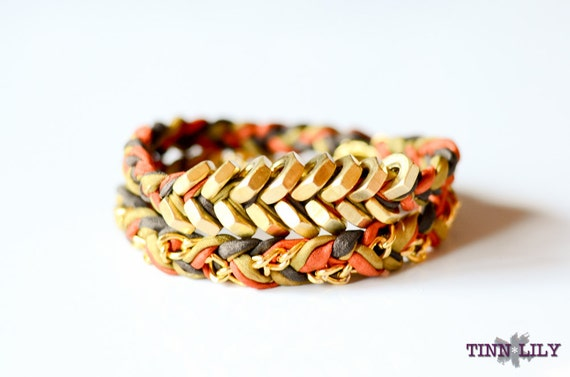TINNLILY Silk Autumn Chain and Hex Nut Double Wrap Bracelet