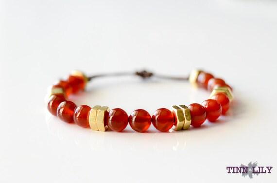 TINNLILY Red Agate Beaded Hex Nut Bracelet