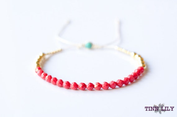 TINNLILY Pink Coral Beaded Bracelet