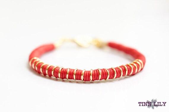 TINNLILY Red Cotton Cord Bracelet