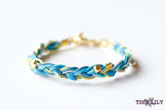 TINNLILY Blue Golden Flecks Braided Bracelet