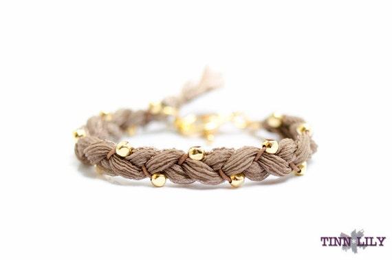 TINNLILY Latte Silk Beaded Braided Bracelet