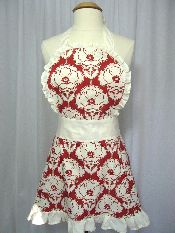 Full Apron with Ruffles and Cream Flowers in a Red Background
