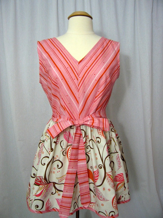 Vintage-style Full Wrap Apron Dress with Striped Bodice and Wren Birds Skirt - Free Spirit Wrenly Fabric