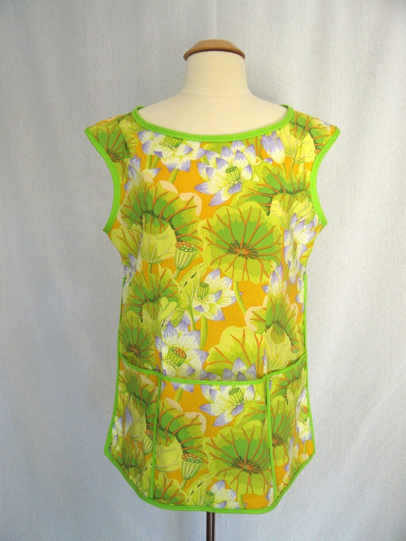 Vintage-style Cobbler Apron with Yellow, Lime Green and Lavendar Lake Blossoms on a Peach Background - Kaffe Fassett Fabric