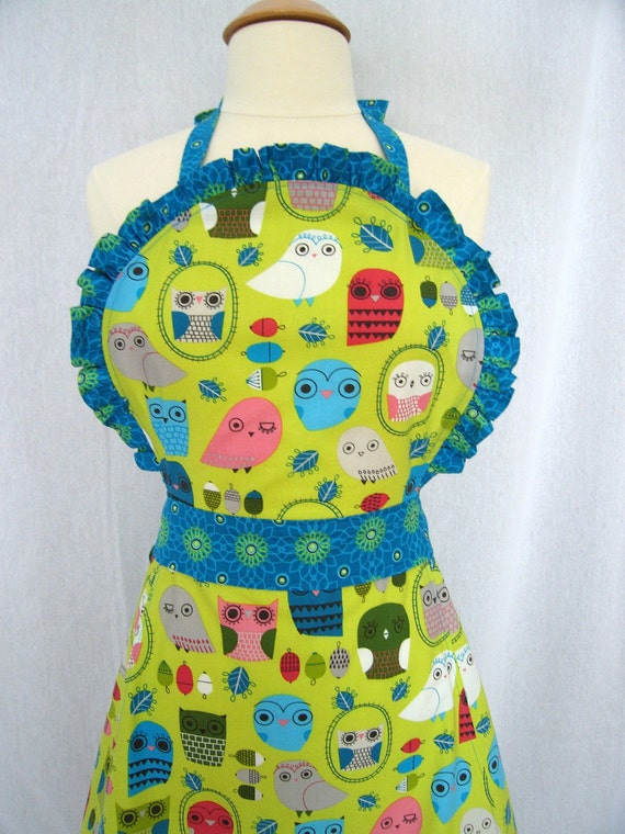 Frilly Apron with Ruffles and Owls on a Lime Background - Kaufman Critter Community Fabric