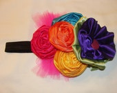 Rainbow Headband Clip - Facinator Colorful Party  Pink, Orange, Yellow, Purple, Green Rosette Black stretch headband - babies, girls, women