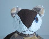 "Teddy Bear soft sculpture ""Buster Bear"" Baby Blue & Brown 9 inch"