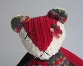 "Teddy Bear soft sculpture ""Bea Bear"" Red, Yellow, & Black 9 inch"