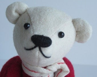 Valentines Bear Red & White Wool 7 inch Valentino II