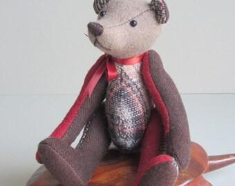Patchwork Bear Rust, Tan & Brown Wool plaid 7 inch Tom Thumbear