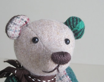 Teddy Bear Lucky Green, Brown and Cream Wool plaid Tom Thumbear 7""
