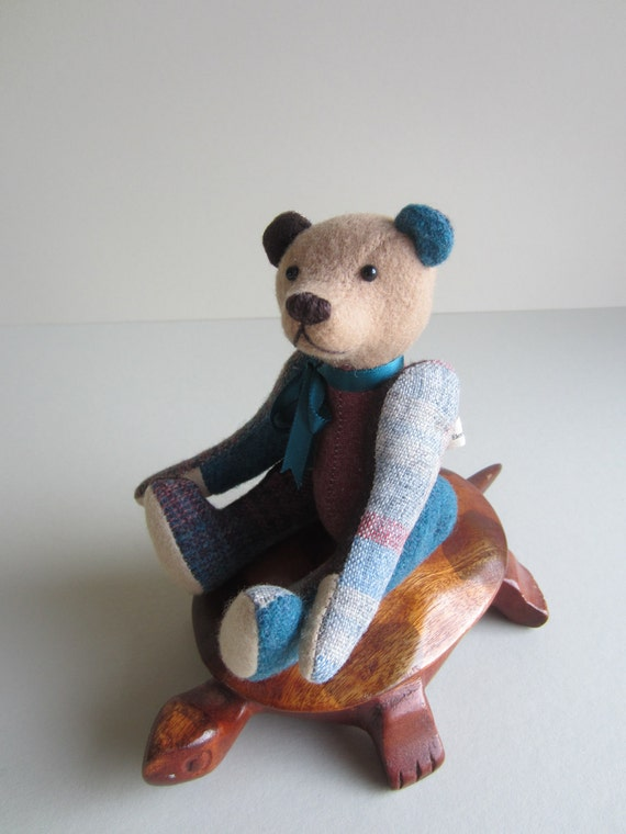 Patchwork Bear Teal, Rhubarb, & Cocoa Cream Wool plaid 7 inch Tom Thumbear