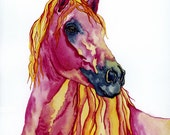 "horse painting ""Stands In Stillness"" giclee print of original watercolor"