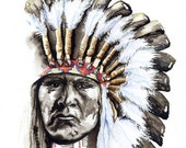 "painting of native american ""Pauses Before Proceeding"" giclee print of original watercolor"